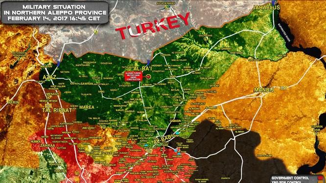 Bản đồ chiến sự khu vực thành phố Aleppo ngày 14.02.2017