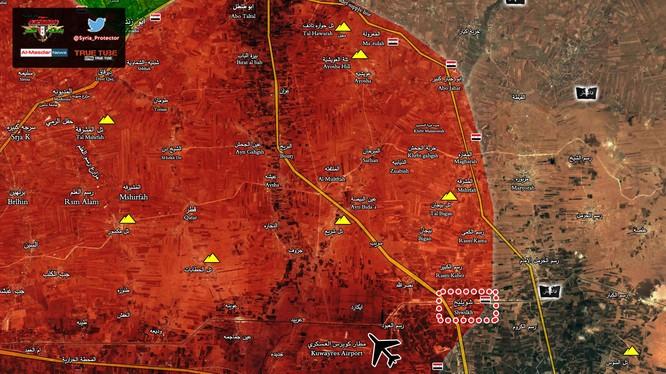 Bản đồ quân đội Syria giải phóng thị trấn nhỏ Shuweilekh, phía đông Aleppo