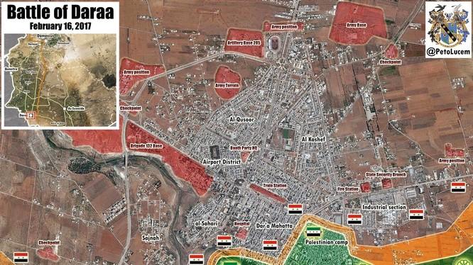Bản đô thành phố Daraa, khu vực bị lực lượng Hồi giáo cực đoan đánh chiếm