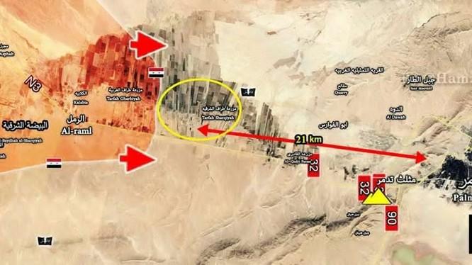 Bản đồ tình hình chiến sự Palmyra, quân đội Syria cách thành phố cổ Palmyra 21 km