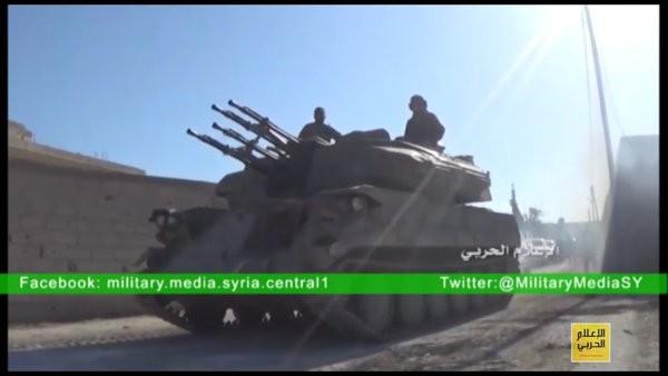 Xe pháo phòng không Shilka quân đội Syria trên khu vực ngoại ô Damascus