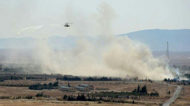 Trực thăng Ka-52 Nga yểm trợ quân đội Syria chiến đấu trên chiến trường Palmya