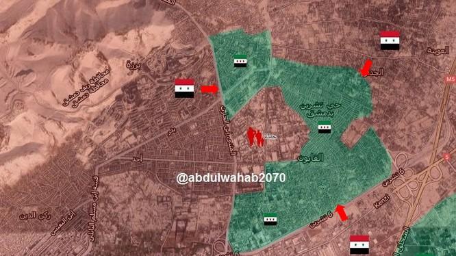 Quân đội Syria tấn công vào 2 quận ngoại ô Damascus, liền kề với khu vực Đông Ghouta
