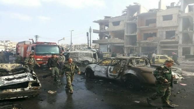 Hiện trường vụ đánh bom tự sát ở thành phố Homs