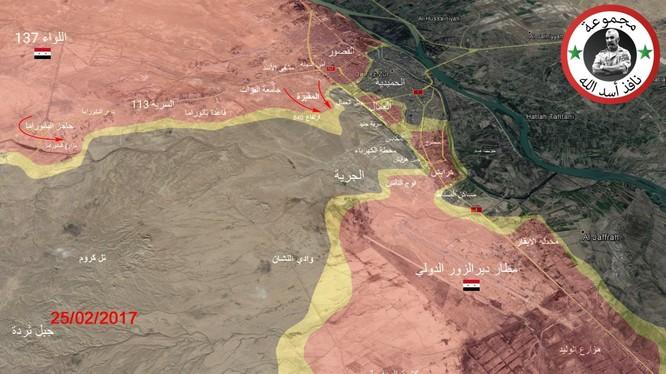 Bản đồ chiến sự thành phố Deir Ezzor tính đến ngày 25.02.2017