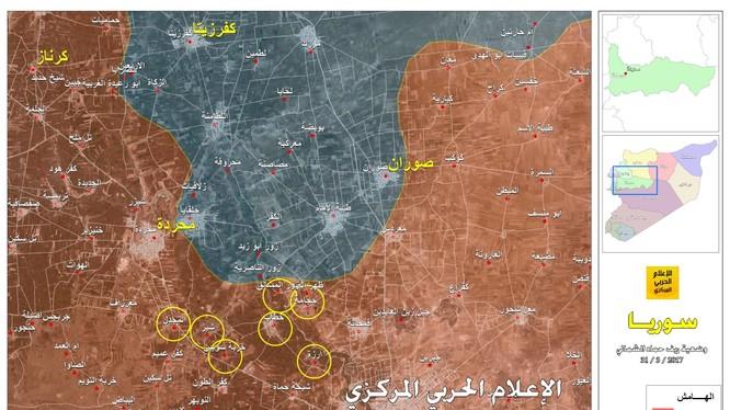 Bàn đồ chiến sự Hama, những vòng tròn là những địa bàn được quân đội Syria giải phóng đến ngày 31.03.2017