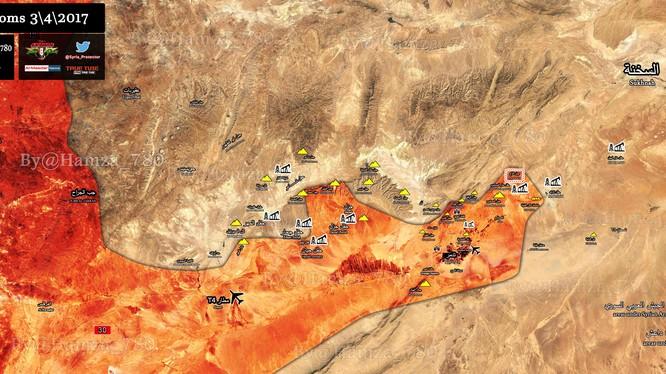 Bản đồ chiến sự ngoại ô Palmyra, vùng ô đánh dấu là cao điểm khống chế mỏ dầu Arak