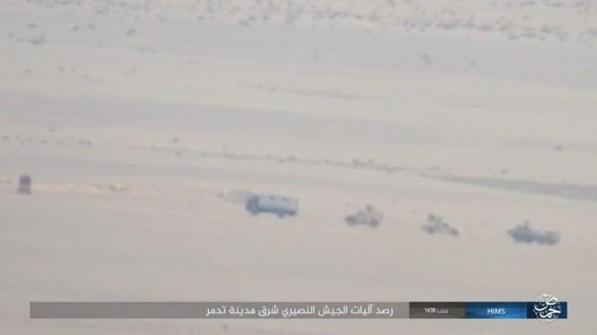 Đoàn xe chiến đấu của quân đội Syria trên sa mạc Palmyra