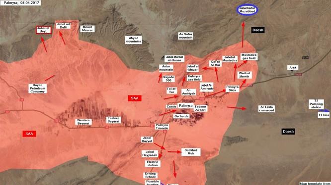 Các mũi tiến công của quân đội Syria trên chiến trường Palmyra