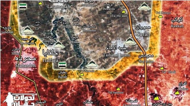 Bản đồ chiến sự tỉnh Hama, tính đến ngày 08.03.2017