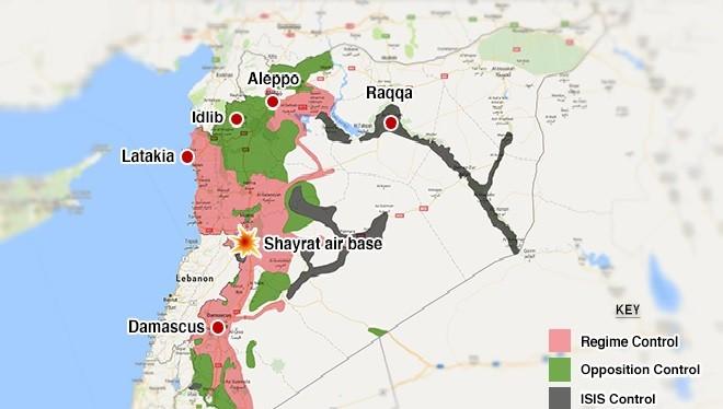Vị trí sân bay quân sự Shayrat ở Syria