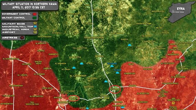 Bản đồ chiến sự khu vực chiến trường miền bắc tỉnh Hama, Syria