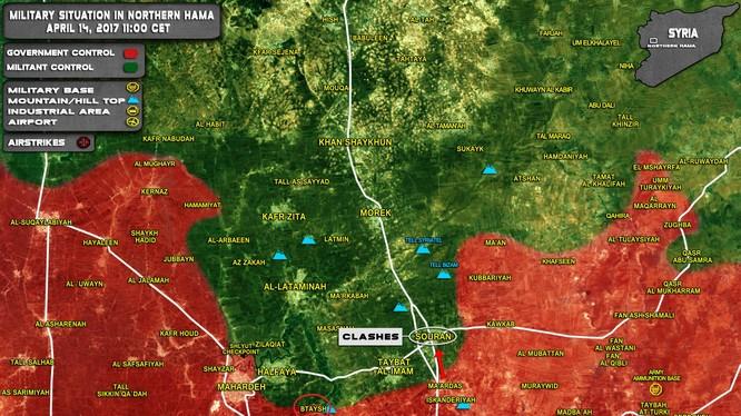 Bản đồ chiến sự khu vực miền bắc Hama ngày 14.04.2017