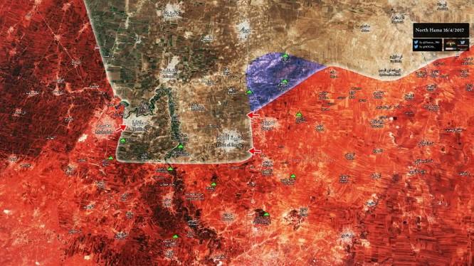 Bản đồ chiến sự chiến trường miền Bắc Hama ngày 16.04.2017