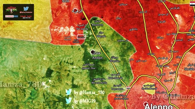 Bản đồ khu vực chảo lửa Anadan phía tây Aleppo