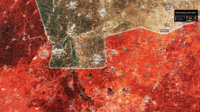 Bản đồ chiến sự tỉnh Hama sáng ngày 17.04.2017