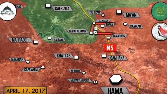 Khu vực chiến trường miền bắc tỉnh Hama, các mũi tấn công chính của lực lượng Tiger