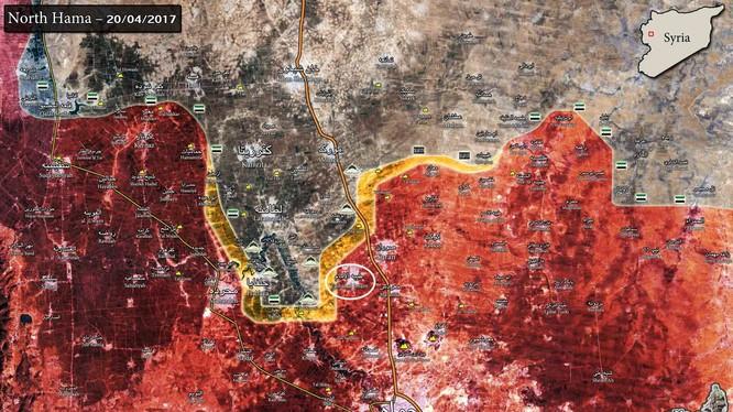 Bản đồ chiến sự miền bắc Hama tính đến ngày 20.04.2017