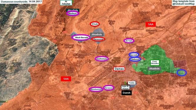 Toàn cảnh chiến trường vùng ngoại ô Damascus