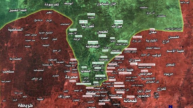 Chiến trường vùng nông thôn miền bắc Hama tính đến ngày 22,04.2017