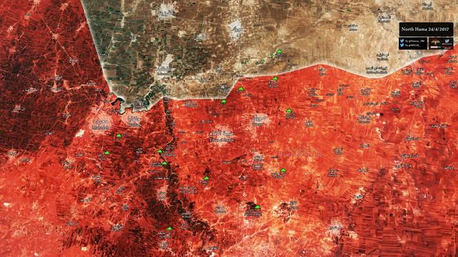 Bản đồ chiến sự vùng nông thôn miền bắc Hama
