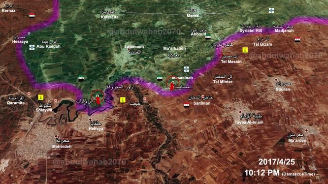 Bản đồ chiến sự phía bắc tỉnh Hama tính đến ngày 25.04.2017