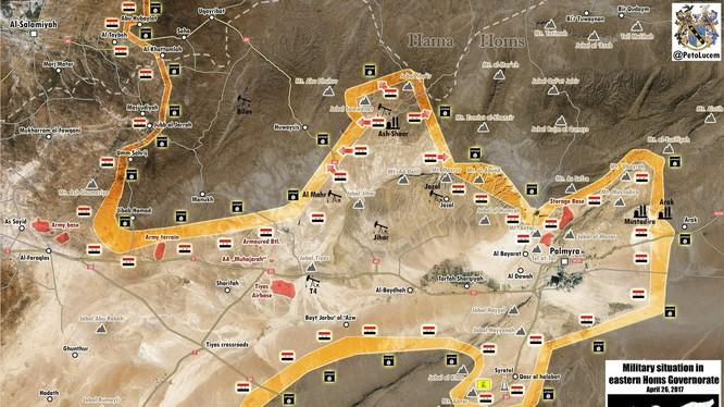 Bản đồ chiến sự khu vực phía đông tỉnh Homs - Palmyra