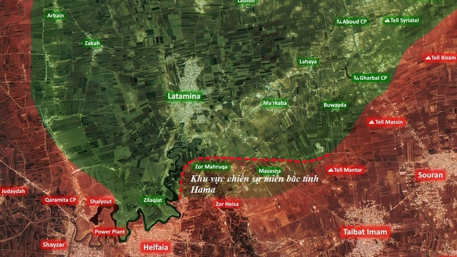 Khu vực chiến sự trong cuộc phản công trên miền bắc tỉnh Hama