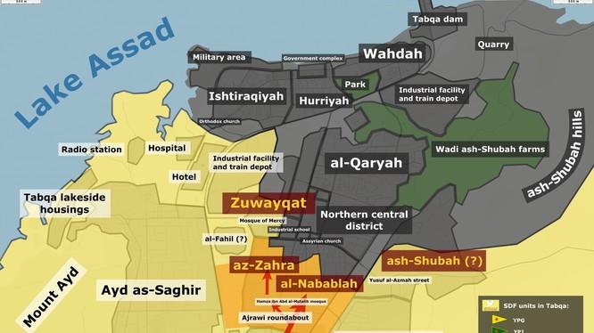 Bàn đồ chiến sự thành phố Tabqa thuộc tỉnh Raqqa