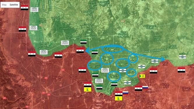 Những mục tiêu tiếp theo của quân đội Syria trên chiến trường Hama (màu xanh nhạt)