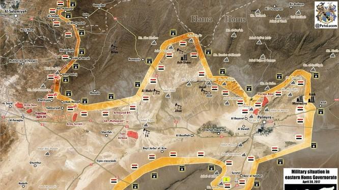 Bản đồ chiến sự phía đông tỉnh Homs tính đến ngày 30.04.2017