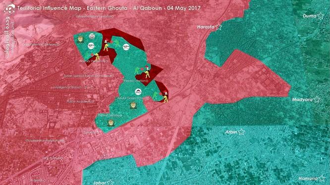 Bản đồ chiến trường quận Al-Qaboun, ngoại ô Damascus