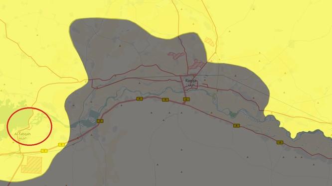 Bản đồ chiến sự khu vực thành phố Tabqa, tỉnh Raqqa hoàn toàn giải phóng