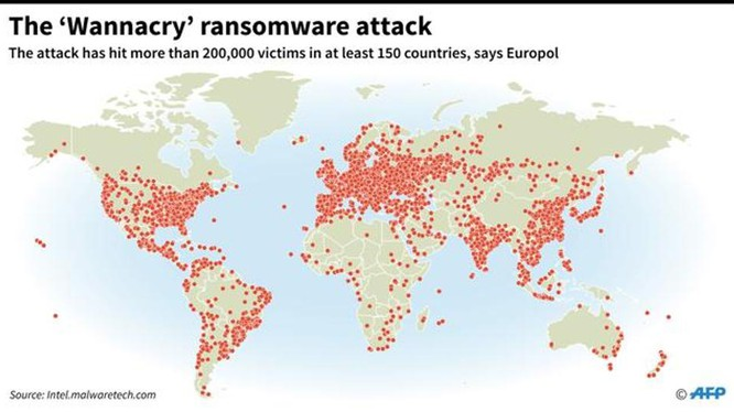 Bản đồ vụ tấn công mạng toàn cầu của phần mềm độc hại WannaCry