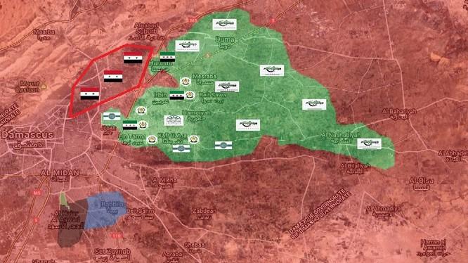 Bản đồ chiến sự vùng ngoại ô Damascus, khu vực Đông Ghouta