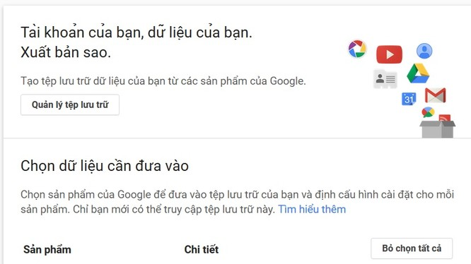Giao diện sao lưu tài khoản Google