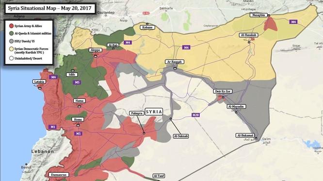 Bản đồ toàn cảnh chiến trường Syria tính đến ngày 20.05.2017 theo Al-Masdar News
