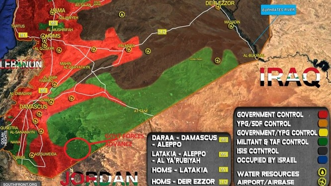 Khu vực tiến công của quân đội Syria trên chiến trường Sweida