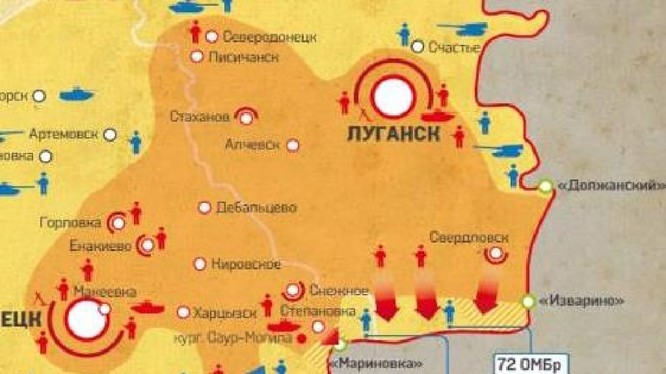 """Bản đồ trận chiến """"chảo lửa Izvarino """" vùng Donbass"""