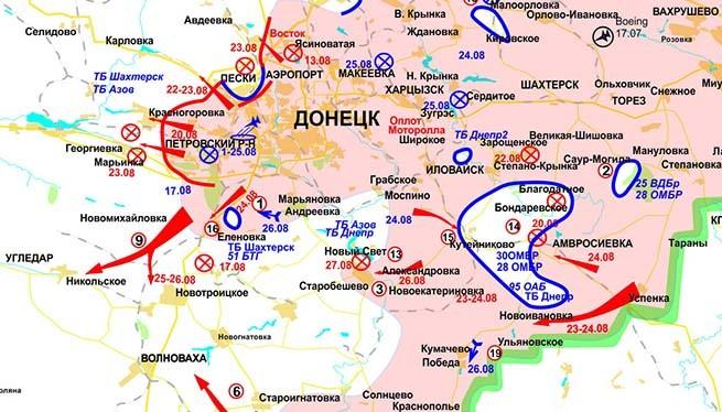 "Bản đồ ""chảo lửa"" Ilovaysk trong địa phận Donesk"