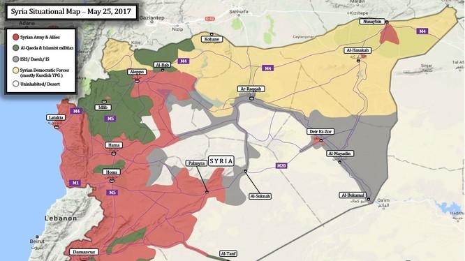 Toàn cảnh không gian chiến trường Syria tính đến ngày 26.05.2017