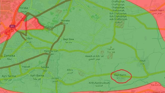 Bản đồ vùng Đông Ghouta, vòng tròn đỏ là thị trấn Beit Nayem, đang là mục tiêu cuộc tấn công của quân đội Syria