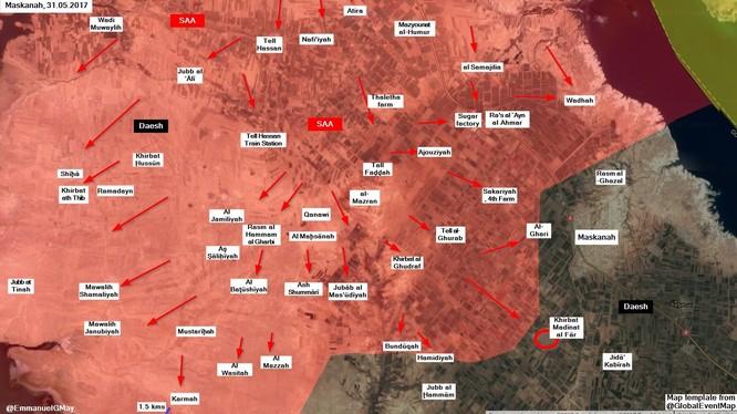 Quân đội Syria tấn công vào ngôi làng Khirbat Madinat al-Far, hướng tây nam thị trấn Maskanah