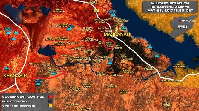 Hướng tấn công chính của quân đội Syria bắt đầu từ thị trấn Khanasser về phía đông nam Aleppo