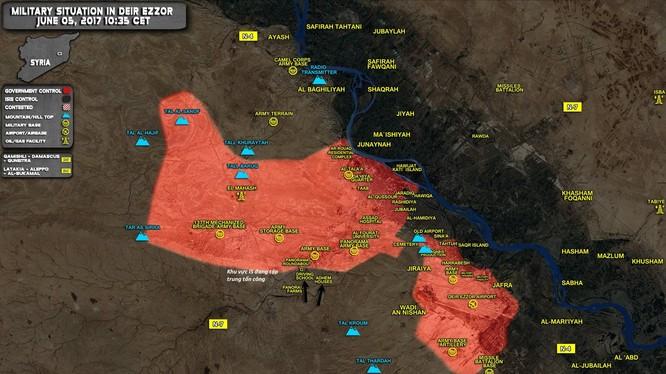 Bản đồ chiến sự chiến trường Deir Ezzor, hàng nghìn tay súng IS từ Raqqa đang tập trung vào mục tiêu này