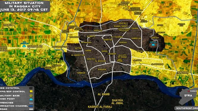 Bản đồ chiến sự thành phố Raqqa tính đến ngày 12.06.2017