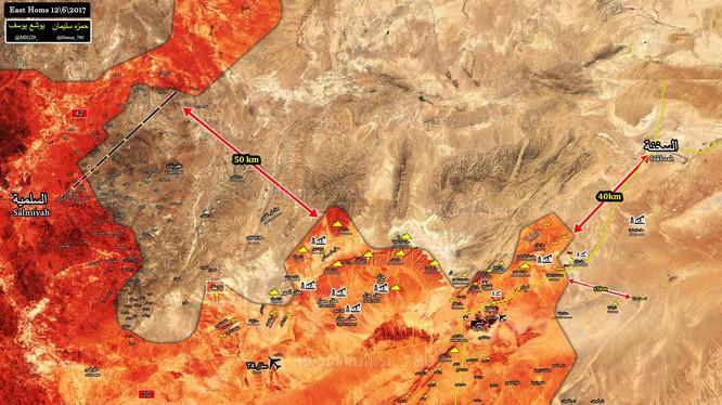 Bản đồ tình hình chiến sự khu vực tỉnh Homs tính đến ngày 12.06.2017