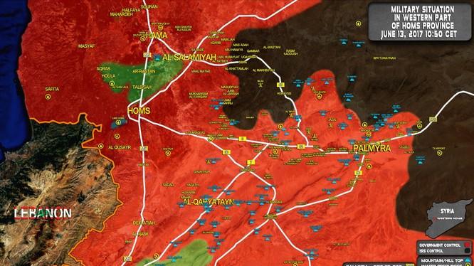 Bản đồ chiến sự vùng sa mạc phía đông tỉnh Homs