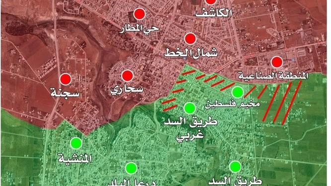 Các hướng tấn công của quân đội Syria trong thành phố Daraa