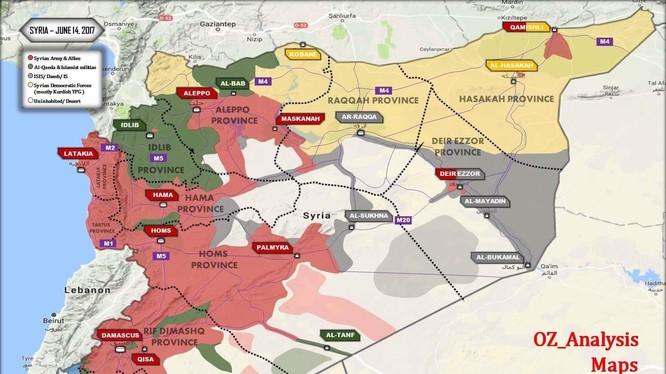 Bản đồ chiến sự Syria tính đến ngày 14.06.2017 theo Al-Masdar News